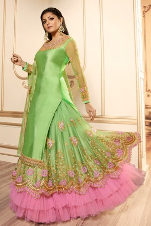Drashti Dhami Light Green Embroidered And Lace Work Georgette Satin Lehenga Suit With Net Dupatta