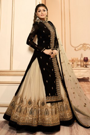 Drashti Dhami Black Embroidered And Lace Work Georgette Satin Lehenga Suit With Net Dupatta