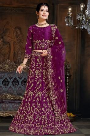 Stylish Embroidered Violet Satin Lehenga With Net Dupatta