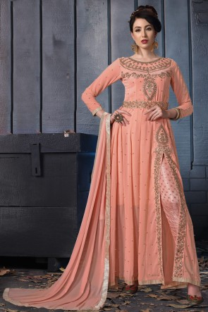 Beautiful Peach Embroidered Faux Georgette Anarkali Suit With Chiffon Dupatta