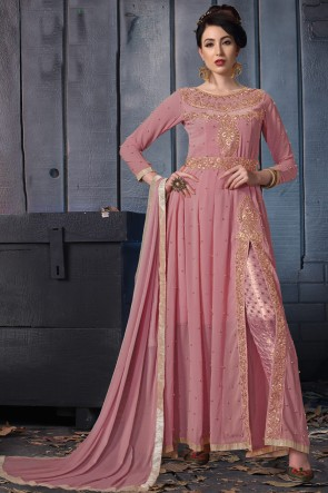 Embroidered Designer Wine Faux Georgette Anarkali Suit With Chiffon Dupatta