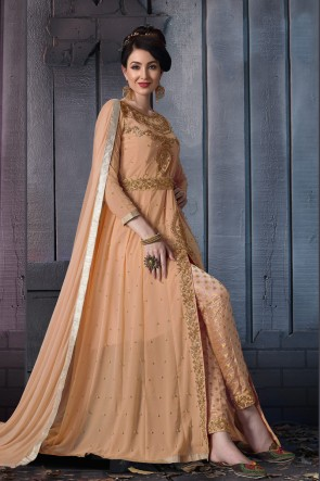Designer Cream Embroidered Faux Georgette Anarkali Suit With Chiffon Dupatta