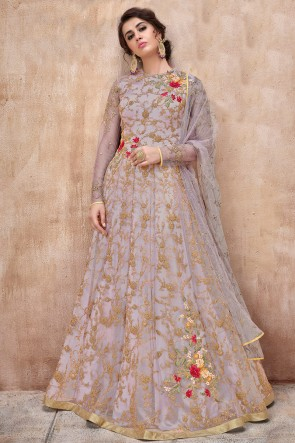 Beautiful Wine Net Embroidered Anarkali Suit And Dupatta