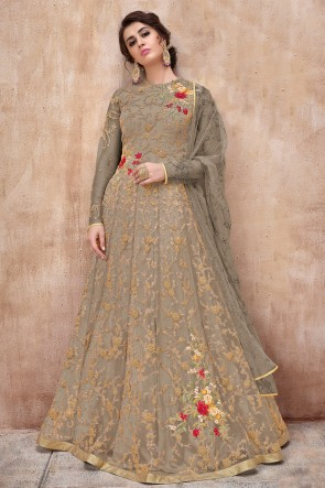 Grey Net Embroidered Anarkali Suit And Dupatta