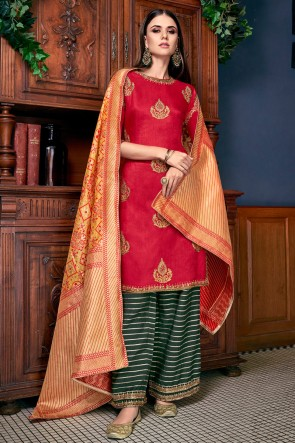 Graceful Red Silk Embroidered And Lace Work Plazzo Suit With Jacquard Dupatta