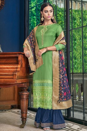 Lovely Embroidered And Lace Work Green Satin Plazzo Suit With Jacquard Dupatta