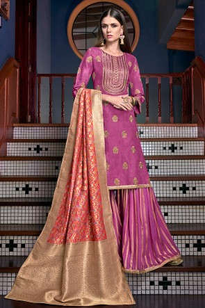 Pleasing Embroidered And Lace Work Wine Satin Plazzo Suit With Jacquard Dupatta
