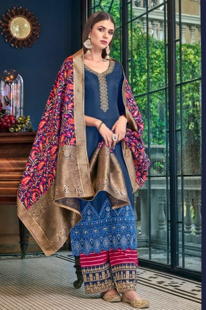 Splendid Navy Blue Satin Embroidered And Lace Work Plazzo Suit With Jacquard Dupatta