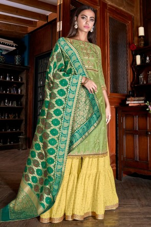 Stunning Silk Embroidered And Lace Work Light Green Plazzo Suit With Jacquard Dupatta