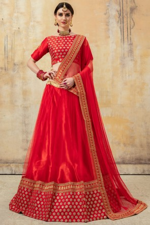 Excellent Net Fabric Red Beads Work And Lace Work Lehenga Choli And Dupatta