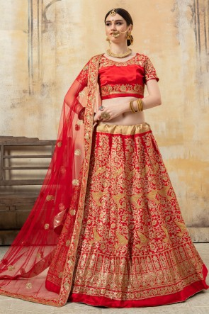 Lace Work And Sequins Work Red Satin Fabric Lehenga Choli With Net Dupatta