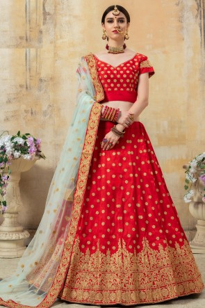 Silk Fabric Red Sequins Work And Embroidered Designer Lehenga Choli With Net Dupatta