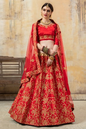 Beads And Embroidery Work Designer Red Satin Fabric Lehenga Choli And Dupatta