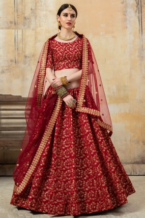 Lace Work And Embroidered Maroon Art Silk Fabric Lehenga Choli With Net Dupatta