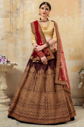 Fancy Fabric Coffee Lace And Embroidery Work Lehenga Choli With Net Dupatta