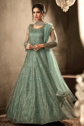 Heavy Designer Sea Green Embroidered And Lace Work Net Abaya Style Anarkali Suit And Dupatta