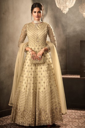 Net Fabric Beige Lace Work And Embroidered Designer Abaya Style Anarkali Suit And Santoon Bottom