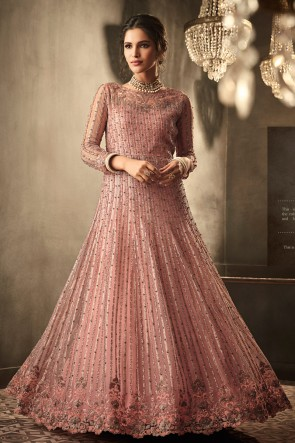 Abaya Style Net Fabric Wine Embroidered And Beads Work Anarkali Suit And Dupatta
