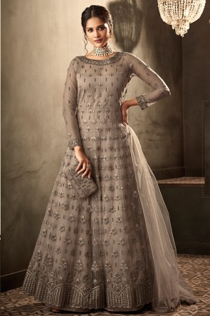 Beads Work And Lace Work Grey Net Fabric Abaya Style Anarkali Suit And Dupatta