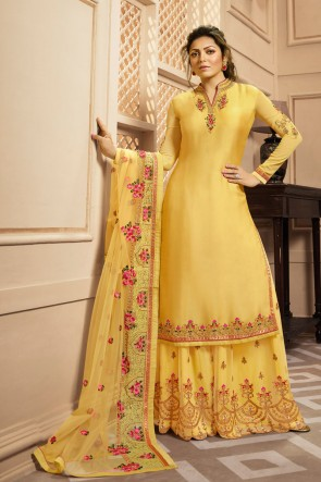 Drashti Dhami Yellow Georgette Satin Embroidered And Lace Work Plazzo Suit With Net Dupatta