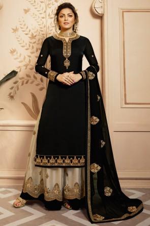 Drashti Dhami Embroidered And Lace Work Designer Black Georgette Satin Plazzo Suit And Dupatta
