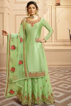 Drashti Dhami Designer Parrot Green Georgette Satin Embroidery Work Plazzo Suit With Net Dupatta