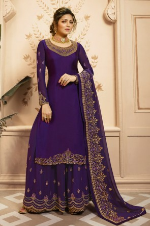 Drashti Dhami Georgette And Santoon Bottom Purple Embroidered Plazzo Suit And Dupatta