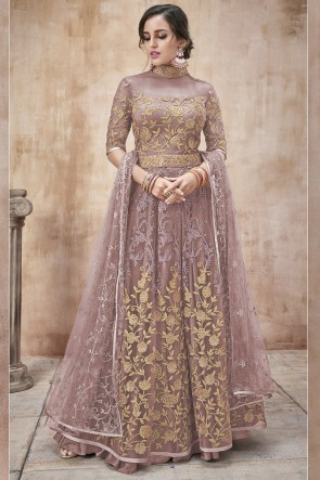 Lace Work And Beads Work Wine Net Fabric Abaya Style Anarkali Suit And Dupatta