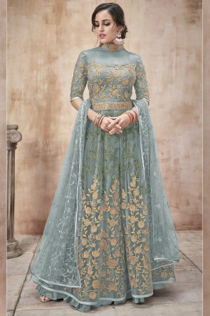 Sky Blue Net Fabric Embroidery And Lace Work Abaya Style Anarkali Suit And Dupatta