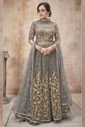Net Fabric Beads Work And Lace Work Grey Anarkali Suit And Silk Satin Bottom