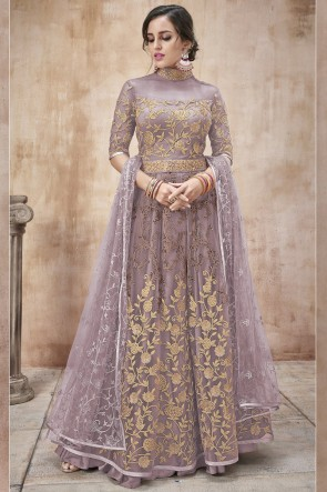 Party Wear Embroidery And Beads Work Lavender Net Fabric Abaya Style Anarkali Suit And Dupatta