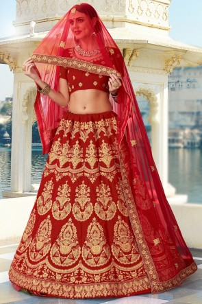 Red Embroidery And Lace Work Velvet Fabric Bridal Lehenga Choli With Net Dupatta