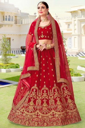Embroidery And Beads Work Red Velvet Fabric Bridal Lehenga Choli With Net Dupatta