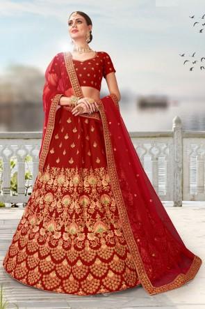 Velvet Fabric Designer Lace And Beads Work Red Bridal Lehenga Choli With Net Dupatta