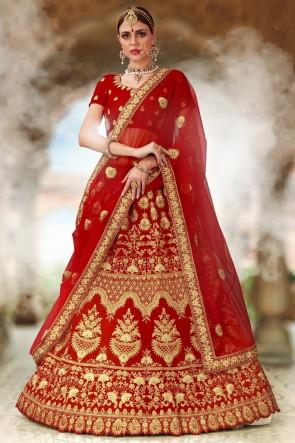 Beads Work And Embroidered Velvet Fabric Red Bridal Lehenga Choli With Net Dupatta