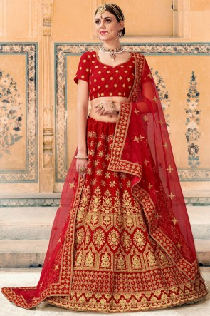 Lace And Beads Work Red Velvet Fabric Bridal Lehenga Choli With Net Dupatta