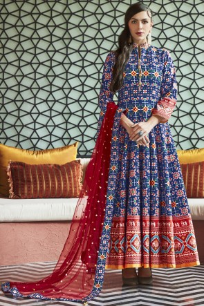Cotton Crepe Bottom Lace And Hand Work Blue Silk Anarkali Suit With Net Dupatta