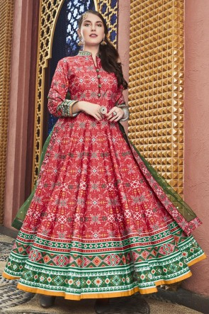 Pink Silk Fabric Lace Work And Printed Abaya Style Anarkali Suit And Cotton Crepe Bottom