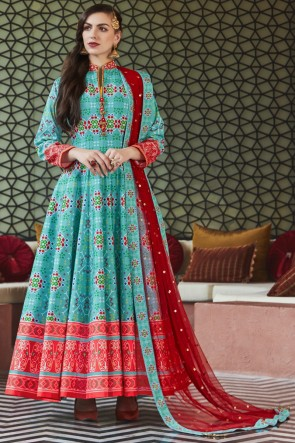 Lace Work And Printed Designer Turquoise Silk Fabric Abaya Style Anarkali Suit With Net Dupatta