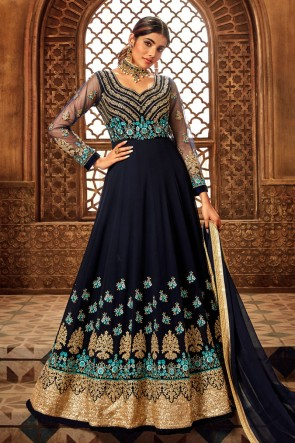 Navy Blue Georgette And Velvet Embroidered Abaya Style Anarkali Suit With Net Dupatta