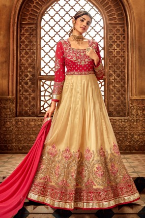 Embroidered Cream Net And Silk Fabric Anarkali Suit With Brocade Dupatta