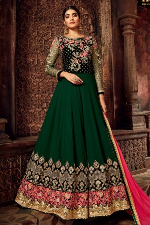 Georgette And Velvet Designer Green Embroidered Anarkali Suit With Brocade Dupatta