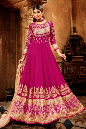 Designer Pink Embroidered Georgette And Velvet Abaya Style Anarkali Suit