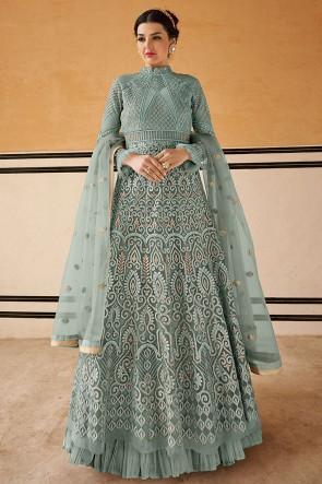 Stunning Embroidered Grey Net Anarkali Suit With Chiffon Dupatta