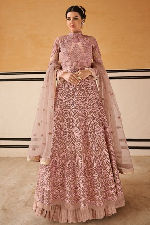 Fascinating Wine Embroidered Net Anarkali Suit With Chiffon Dupatta