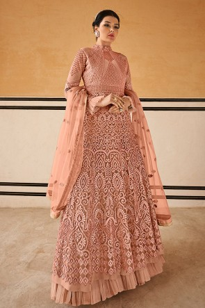Delicate Peach Net Anarkali Suit With Chiffon Dupatta
