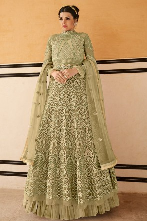 Beautiful Pista Designer Net Embroidered Anarkali Suit With Chiffon Dupatta