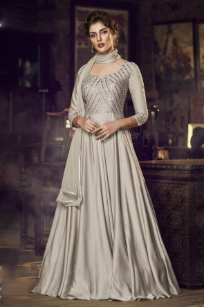 Silver Satin Embroidered Gown