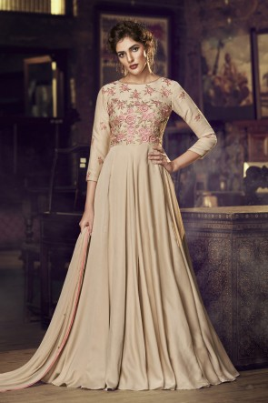 Embroidered Cream Satin Fabric Gown