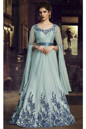 Sky Blue Net Embroidered Gown
